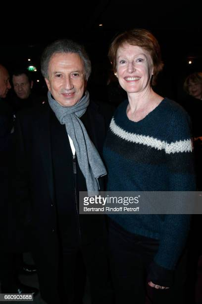 Michel Drucker and Delphine Rich attend the 'Hotel des deux mondes' Theater Play at Theatre Rive Gauche on January 26 2017 in Paris France