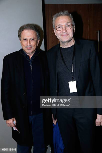 Michel Drucker and Laurent Ruquier attend Michael Gregorio performs for his 10 years of Career at AccorHotels Arena on December 16 2016 in Paris...