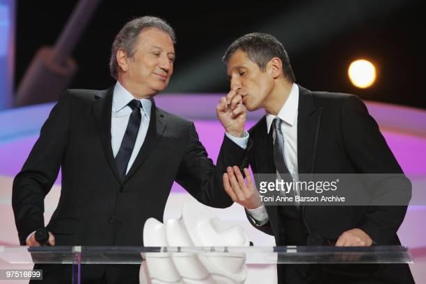 Michel Drucker and Nagui cohost the 25th Victoires de la Musique at Zenith de Paris on March 6 2010 in Paris France