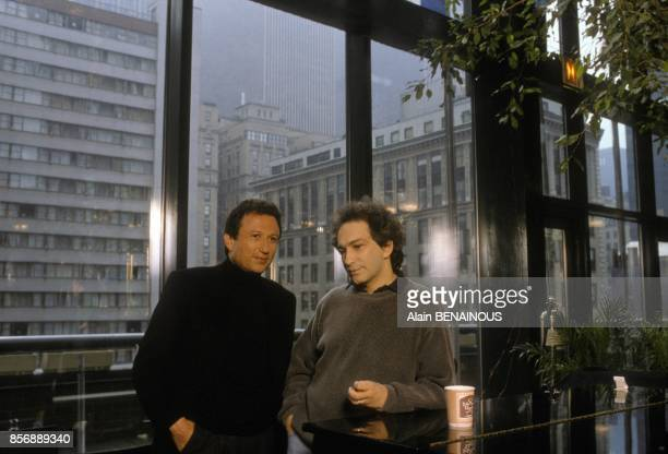 Michel Drucker and singer Michel Berger in New York for TV show 'Champs Elysees' in March 1990 in New York United States