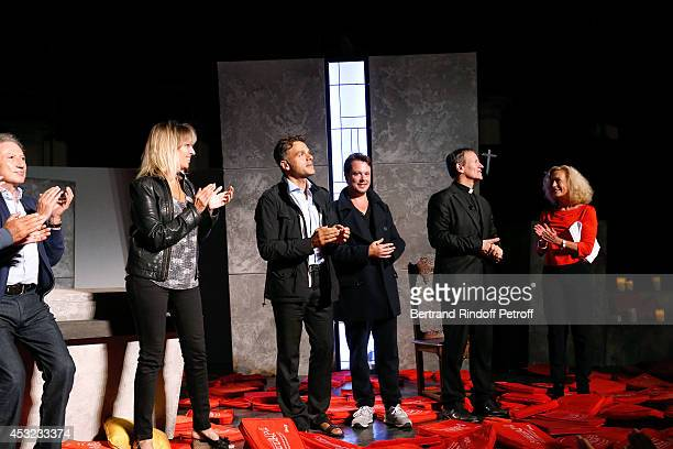 Michel Drucker Decorator Stephanie Jarre her companion stage director Steve Suissa actors Davy Sardou Francis Huster and Brigitte Fossey on stage...