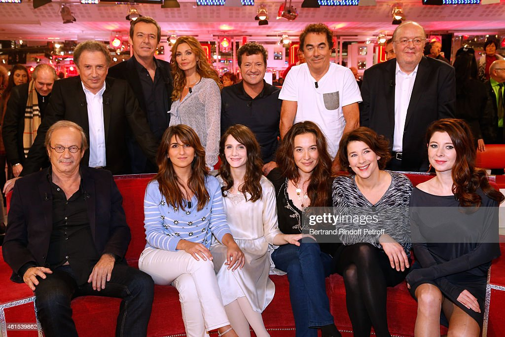 <a gi-track='captionPersonalityLinkClicked' href=/galleries/search?phrase=Michel+Drucker&family=editorial&specificpeople=769504 ng-click='$event.stopPropagation()'>Michel Drucker</a>, Jean-Luc Reichmann, <a gi-track='captionPersonalityLinkClicked' href=/galleries/search?phrase=Ingrid+Chauvin&family=editorial&specificpeople=2084126 ng-click='$event.stopPropagation()'>Ingrid Chauvin</a>, Francis Ginibre, Eric Carriere, Bernard Mabille, (Front L-R) Main Guest of the show <a gi-track='captionPersonalityLinkClicked' href=/galleries/search?phrase=Patrick+Chesnais&family=editorial&specificpeople=615667 ng-click='$event.stopPropagation()'>Patrick Chesnais</a>, Geraldine Nakache, <a gi-track='captionPersonalityLinkClicked' href=/galleries/search?phrase=Judith+Chemla&family=editorial&specificpeople=5350682 ng-click='$event.stopPropagation()'>Judith Chemla</a>, Yael Abecassis, Isabelle Gelinas and Helene Gremillon attend the 'Vivement Dimanche' French TV Show at Pavillon Gabriel on January 14, 2015 in Paris, France.