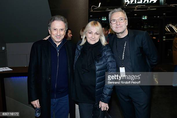 Michel Drucker Julie Leclerc and Laurent Ruquier attend Michael Gregorio performs for his 10 years of Career at AccorHotels Arena on December 16 2016...