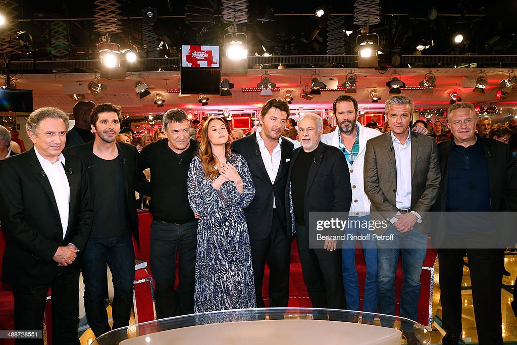 Michel Drucker, main guest of the show Patrick Fiori, Jean-Marie Bigard, Vanessa Demouy, her husband Philippe Lellouche, Francis Perrin, Christian Vadim, David Brecourt and Michel Field attend the 'Vivement Dimanche' French TV Show, held at Pavillon Gabriel on May 14, 2014 in Paris, France.