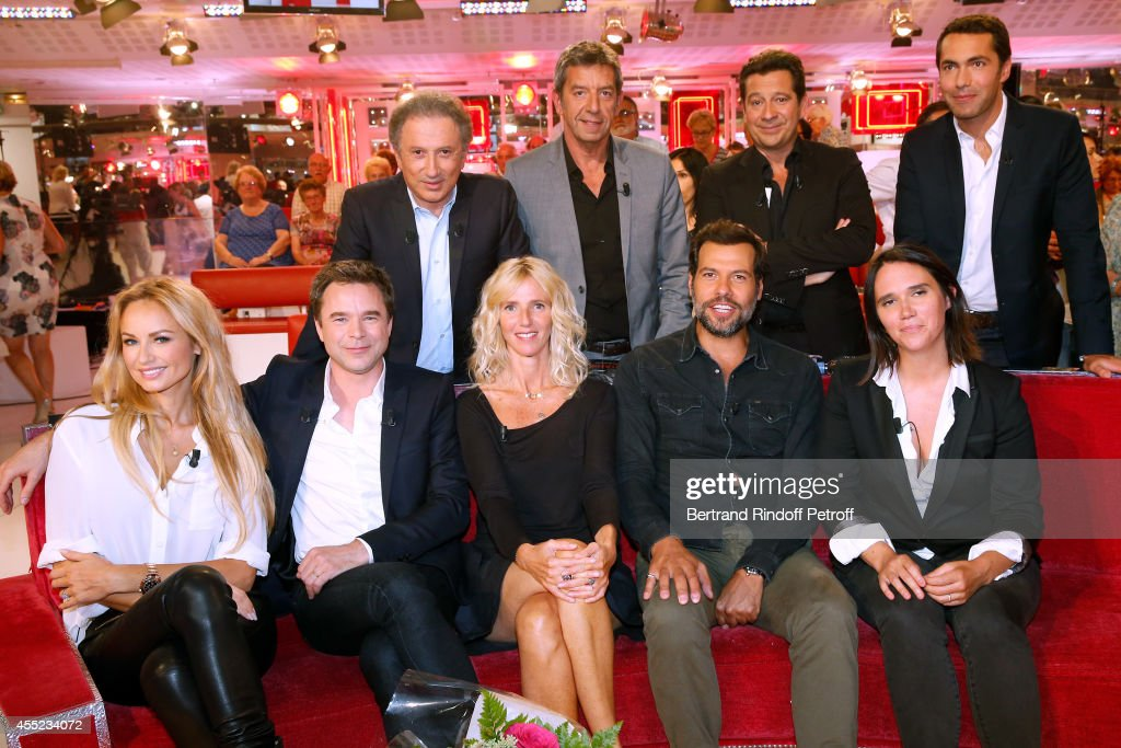 Michel Drucker, Michel Cymes, Laurent Gerra, Ben, (front L-R) Adriana Karembeu, Guillaume de Tonquedec, Sandrine Kiberlain, Laurent Lafitte and Jeanne Herry attend the 'Vivement Dimanche' French TV Show at Pavillon Gabriel on September 10, 2014 in Paris, France.