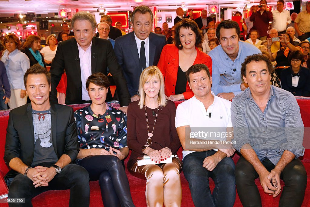 Michel Drucker, Michel Denisot, Anne Roumanoff, Ben, (front L-R) Stephane Rousseau, Alessandra Sublet, Main guest of the show actress Chantal Ladesou, Francis Ginibre and Eric Carriere attend the 'Vivement Dimanche' French TV Show. Held at Pavillon Gabriel on October 29, 2014 in Paris, France.