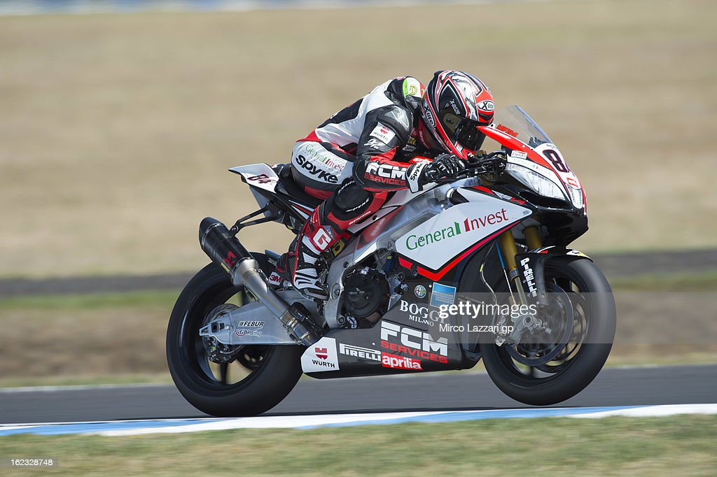 Michel Fabrizio of Italy and Red Devils Roma heads down a straight during qualifying practice ahead of the World Superbikes at Phillip Island Grand Prix Circuit on February 22, 2013 in Phillip Island, Australia.