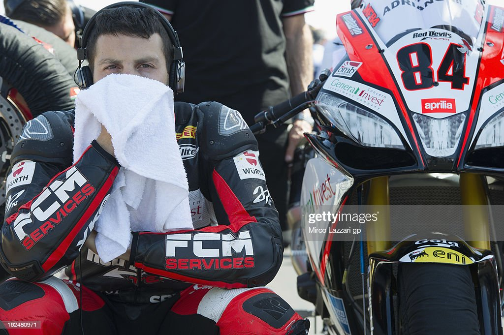 Michel Fabrizio of Italy and Red Devils Roma prepares to start on the grid during the race 1 during the round first of 2013 Superbike FIM World Championship at Phillip Island Grand Prix Circuit on February 24, 2013 in Phillip Island, Australia.