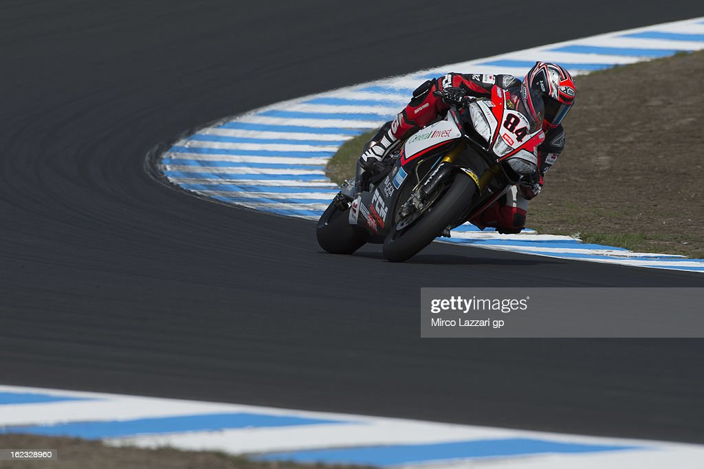 Michel Fabrizio of Italy and Red Devils Roma rounds the bend during qualifying practice ahead of the World Superbikes at Phillip Island Grand Prix Circuit on February 22, 2013 in Phillip Island, Australia.