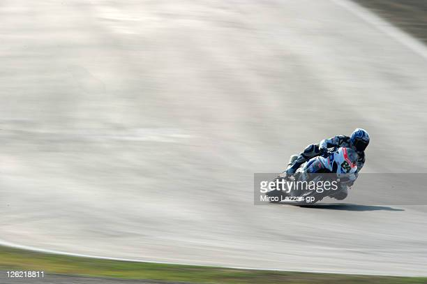 Michel Fabrizio of Italy and Team Suzuki Alstare rounds the bend during the practice session of Superbike World Championship Round Eleven at...