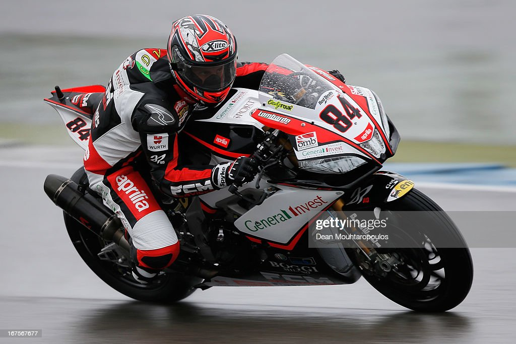 Michel Fabrizio (#84) of Italy on the Aprilia RSV4 Factory for Red Devils Roma competes during the World Superbikes Practice Session at TT Circuit Assen on April 26, 2013 in Assen, Netherlands.