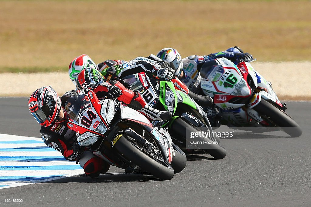 Michel Fabrizio of Italy riding the #84 Red Devils Roma Aprilia during the World Superbikes Race Two at Phillip Island Grand Prix Circuit on February 24, 2013 in Phillip Island, Australia.