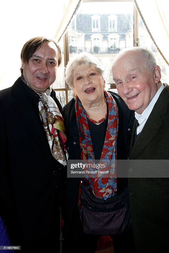 Michel Fau, actor and stage director of 'Un amour qui ne finit pas' and 'Fleur de cactus', who receives the 'Prix du Brigadier 2015' with his Former Professor, Actor <a gi-track='captionPersonalityLinkClicked' href=/galleries/search?phrase=Michel+Bouquet&family=editorial&specificpeople=2025171 ng-click='$event.stopPropagation()'>Michel Bouquet</a> and his wife actress Juliette Carre attend the 'Prix du Brigadier 2015' at Comedie des Champs Elysees on March 11, 2016 in Paris, France.