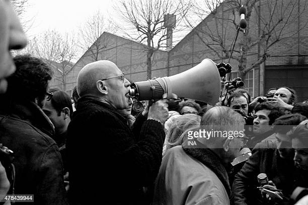 Michel Foucault and Jean Paul Sartre demonstrate in front of the entrance of factories Renault to protest against Pierre Overney's assassination