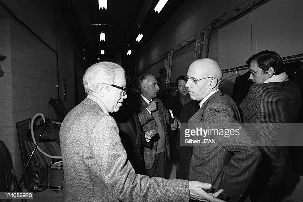 Michel Foucault Roland Barthes and Pierre Boulez in Paris France on February 23 1978