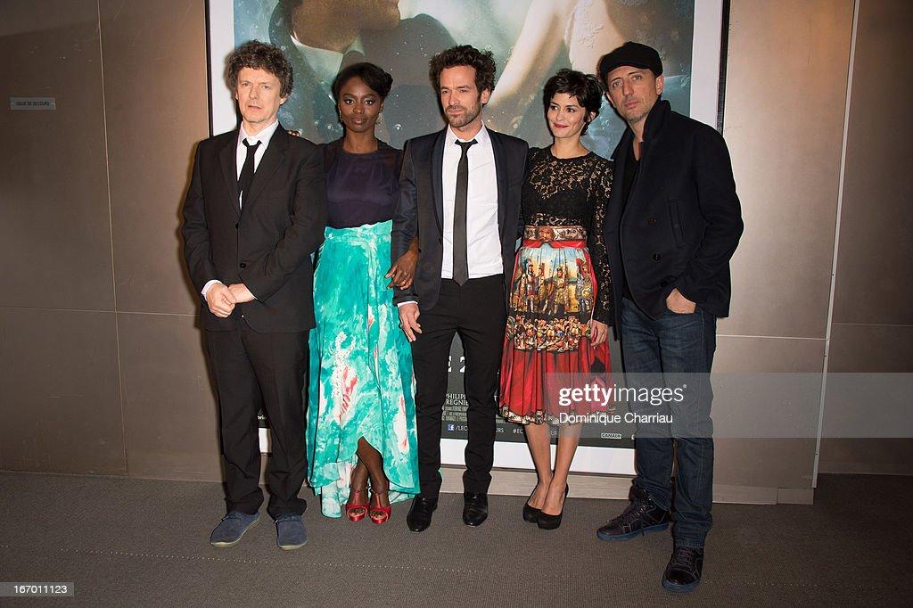 Michel Gondry, Aissa Maiga, Romain Duris, Audrey Tautou and Gad Elmaleh attend the 'L'Ecume Des Jours' Paris Premiere at Cinema UGC Normandie on April 19, 2013 in Paris, France.