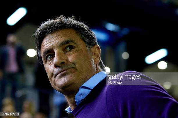 Michel Gonzalez head coach of Malaga CF looks on prior to the La Liga match between Villarreal CF and Malaga CF at Estadio de la Ceramica on November...