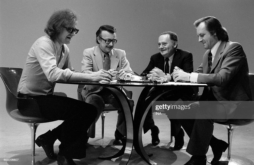 Michel Greg Dany René Goscinny and Albert Uderzo during the recording of the television program 'As quick as a flash'