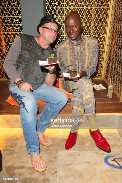 Michel Guillaume and fashion designer Papis Loveday during the summer cocktail and Mizu Onsen SPA Opening at Hotel BachmairWeissach on July 14 2017...