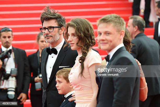Michel Hazanavicius Abdul Khlim Mamamtsuiev Zukhra Duishvili Berenice Bejo and Maxim Emelianov attend 'The Search' Premiere at the 67th Annual Cannes...