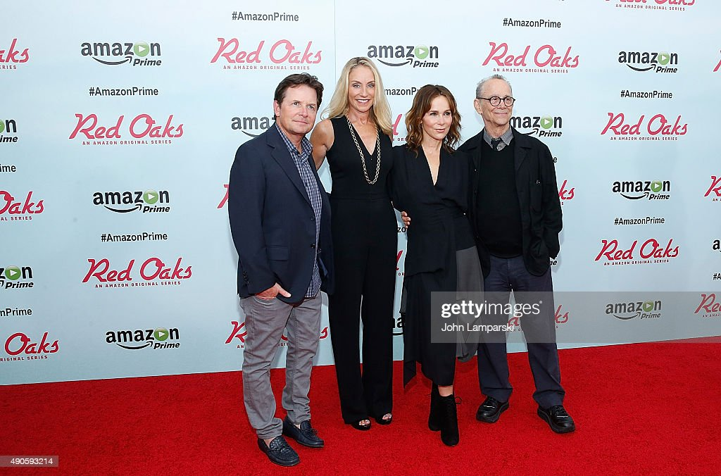 Michel J. Fox, Tracy Pollan, Jennifer Grey and Joel Grey attend 'Red Oaks' series premiere at Ziegfeld Theater on September 29, 2015 in New York City.