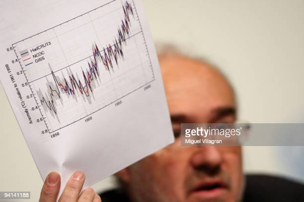 Michel Jarraud SecretaryGeneral of the World Meteorological Organisation WMO presents a chart shwoing that the year 2009 is likely to rank in the top...