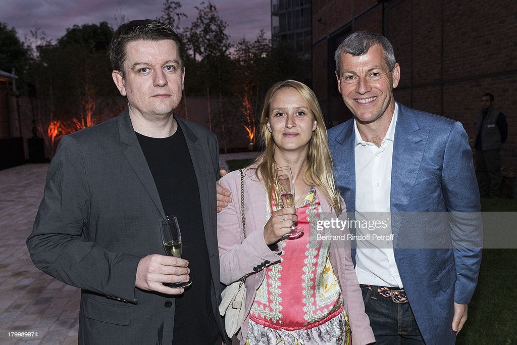 Michel King, Julia Kluzowicz and Marcin Maciejowski attend the Georg Baselitz exhibition preview and dinner at Thaddeus Ropac Gallery on September 7, 2013 in Pantin, east of Paris, France. The exhibition opens on September 8.