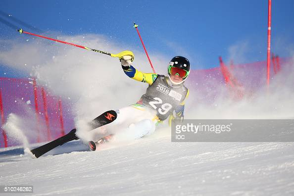 Michel Machedo of Brazil crashes in the slalom section of the Alpine Combined at the Hafjell Olympic Slope during the Winter Youth Olympic Games on...