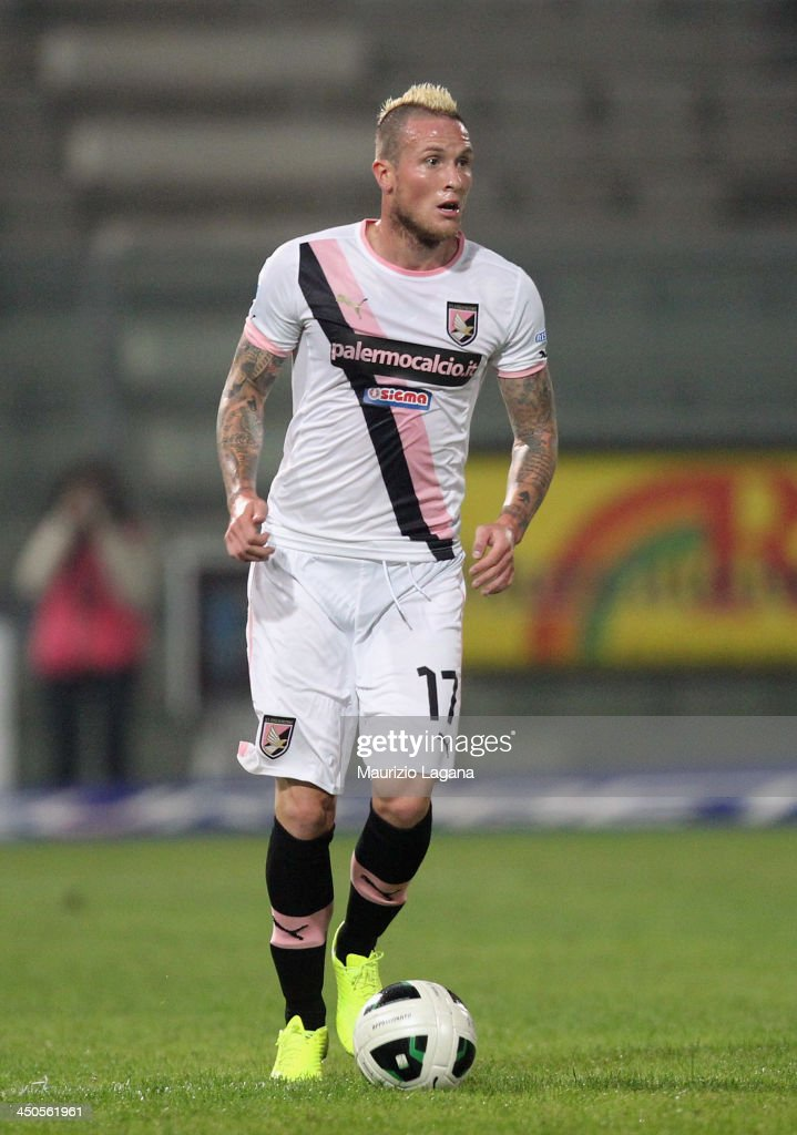 <a gi-track='captionPersonalityLinkClicked' href=/galleries/search?phrase=Michel+Morganella&family=editorial&specificpeople=2484261 ng-click='$event.stopPropagation()'>Michel Morganella</a> of Palermo during the Serie B match between Reggina Calcio and US Citta di Palermo at Stadio Oreste Granillo on November 16, 2013 in Reggio Calabria, Italy.