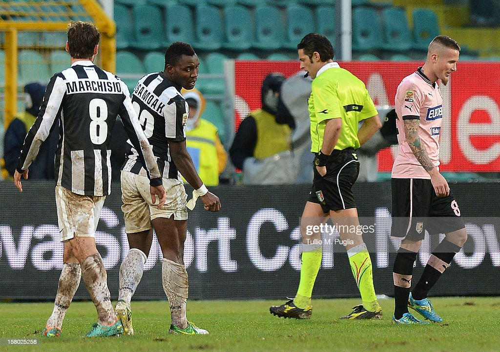<a gi-track='captionPersonalityLinkClicked' href=/galleries/search?phrase=Michel+Morganella&family=editorial&specificpeople=2484261 ng-click='$event.stopPropagation()'>Michel Morganella</a> (R) of Palermo leaves the pitch after receiving a red card during the Serie A match between US Citta di Palermo v Juventus FC at Stadio Renzo Barbera on December 9, 2012 in Palermo, Italy.