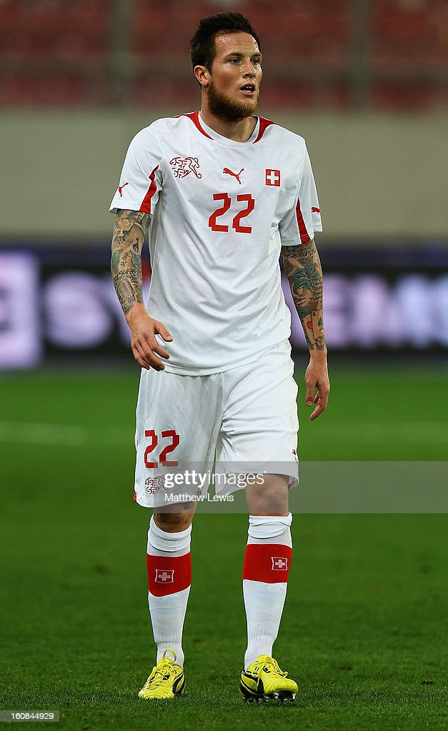 Michel Morganella of Switzerland in action during the International Friendly match between Greece and Switzerland at Karaiskakis Stadium on February 6, 2013 in Athens, Greece.