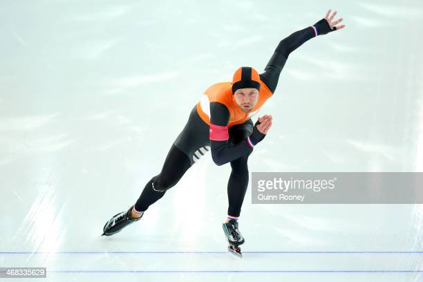 Michel Mulder of the Netherlands competes during the Men's 500 m Race 2 of 2 Speed Skating event during day 3 of the Sochi 2014 Winter Olympics at...
