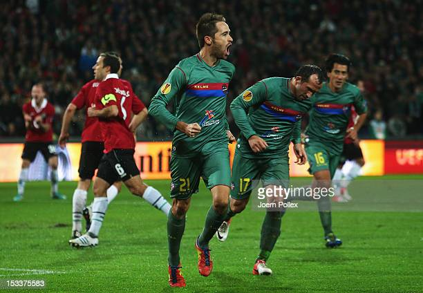 Michel of Levante celebrates after scoring his team's first goal during the UEFA Europa League Group L match between Hannover 96 and Levante UD at...