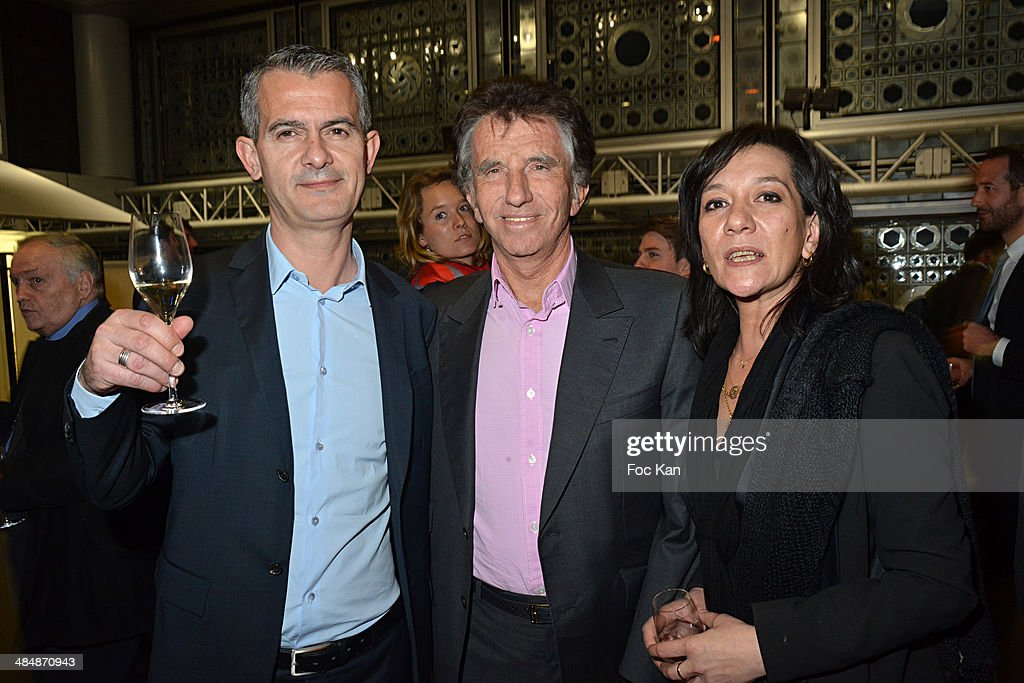 Michel Pillot, Institut du Monde Arabe president <a gi-track='captionPersonalityLinkClicked' href=/galleries/search?phrase=Jack+Lang&family=editorial&specificpeople=220296 ng-click='$event.stopPropagation()'>Jack Lang</a>and Fred Phi attend the 'Passion Francaise Les Voix Des Cites' Gilles Kepel's Book Launch Cocktail At Institut Du Monde Arabe on April 14, 2014 in Paris, France.