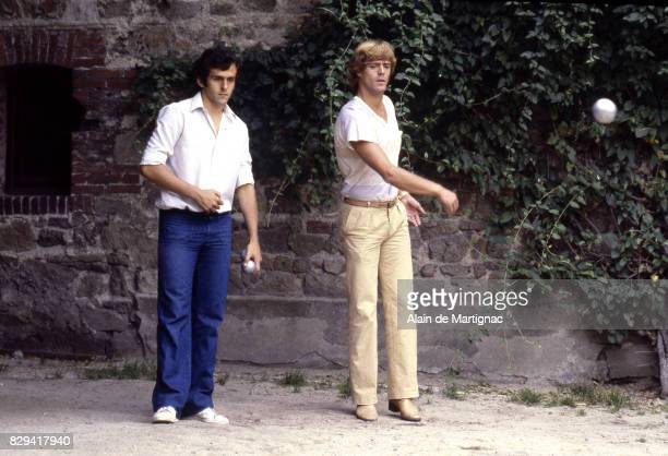 Michel Platini and Johnny Rep during a photoshoot in Saint Etienne France on 1st July 1979