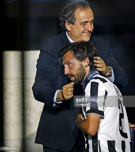 Michel Platini Andrea Pirlo of Juventus during the UEFA Champions League final match between Barcelona and Juventus on June 6 2015 at the Olympic...