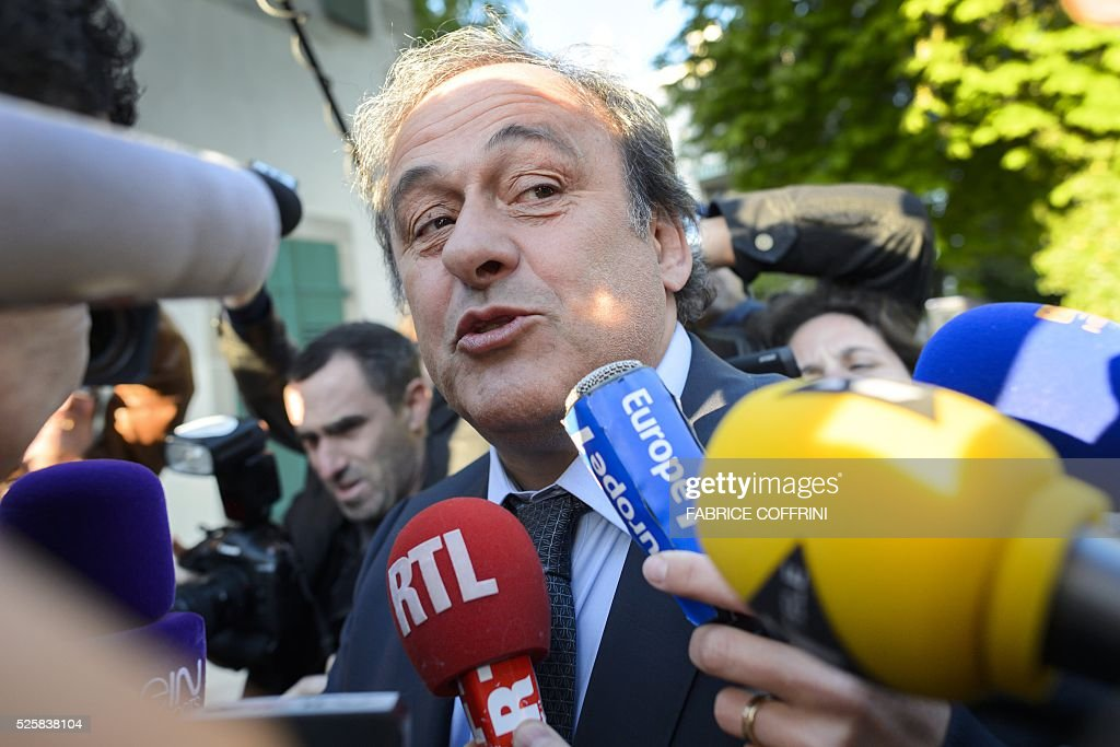 Michel Platini arrives to appear before the Court of Arbitration for Sport to appeal his six-year FIFA ban for ethics violations on April 29, 2016 in Lausanne. The Frenchman has been sanctioned over an infamous two million Swiss franc ($2 million, 1.8 million euro) payment he received in 2011 from then-FIFA president Sepp Blatter. / AFP / FABRICE