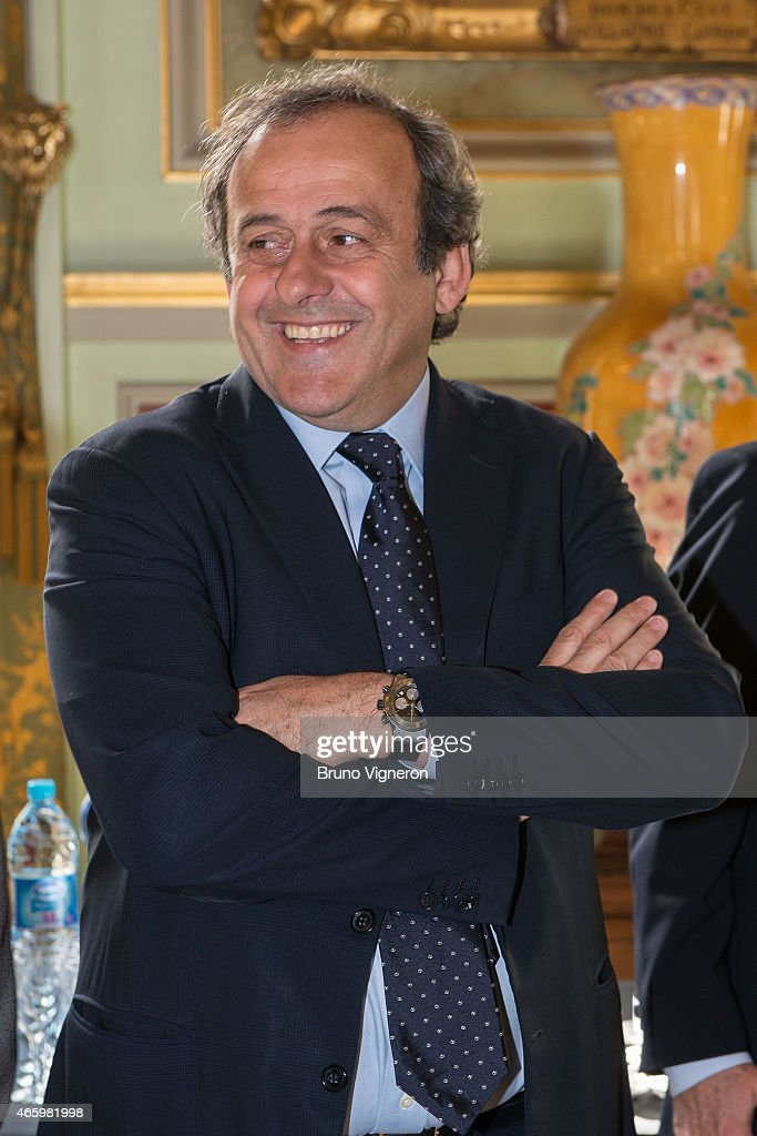 Michel Platini attends the EURO 2016 Steering Committee Meeting - Lyon on March 12, 2015 in Lyon, France.