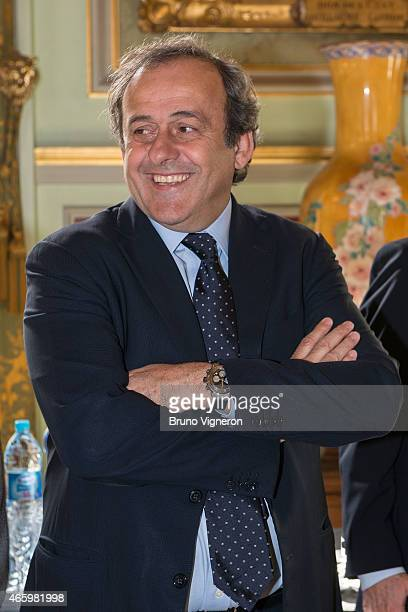Michel Platini attends the EURO 2016 Steering Committee Meeting Lyon on March 12 2015 in Lyon France