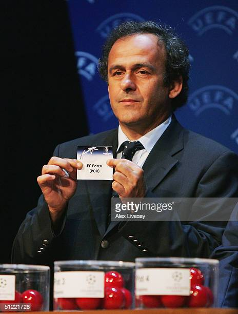 Michel Platini draws out FC Porto during the UEFA Champions League Draw for the first stage of the Season 2004/05 at the Grimaldi Forum on August 26...