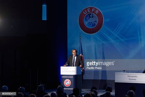 LAGONISI ATHENS ATTIKI GREECE Michel Platini during his speech in the 12th Extraordinary Uefa Congress in 14 of September in Athens The UEFA...