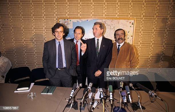 Michel Platini Gerard Houiller Jean Fournet Fayard Claude Bez in France on November 03rd 1988