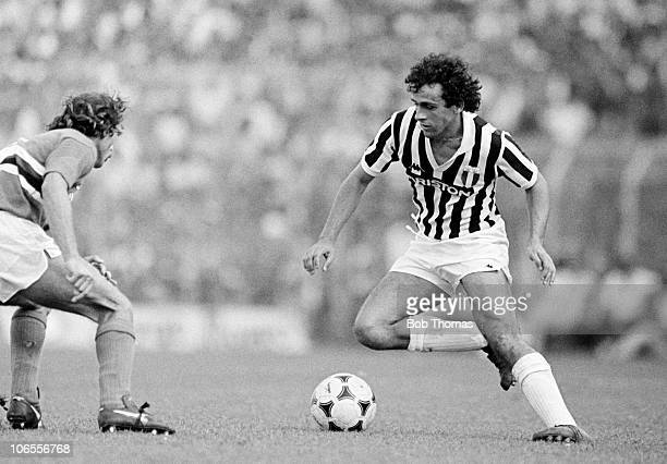 Michel Platini in action for Juventus during their Serie A match against Sampdoria at the Stadio Luigi Ferraris in Genoa 12th September 1982...