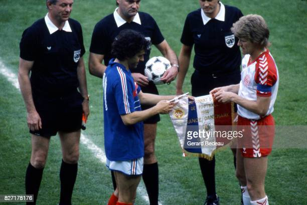 Michel Platini of France and Morten Olsen of Denmark during the European Championship match between France and Denmark at Parc des Princes Paris...