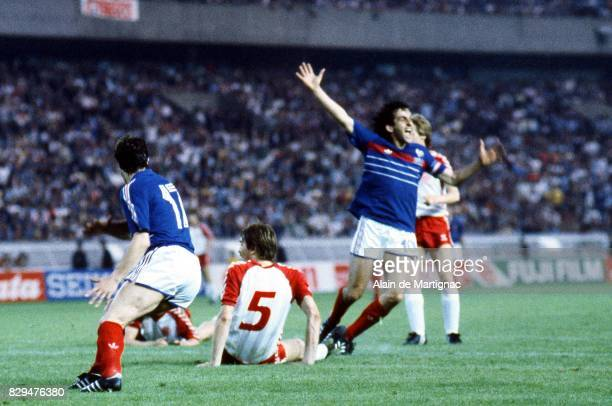 Michel Platini of France celebrates his goal during the European Championship match between France and Denmark at Parc des Princes Paris France on...