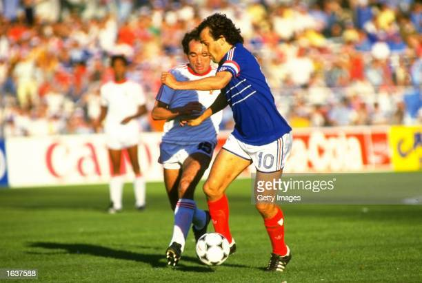 Michel Platini of France in action during the European Championship semifinal against Portugal in Marseilles France France won the match 32 Mandatory...