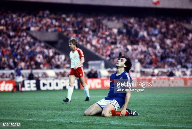 Michel Platini of France looks dejected during the European Championship match between France and Denmark at Parc des Princes Paris France on 12th...