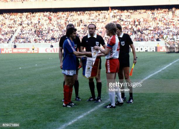 Michel Platini of France Roth Volker referee and Morten Olsen of Denmark during the European Championship match between France and Denmark at Parc...