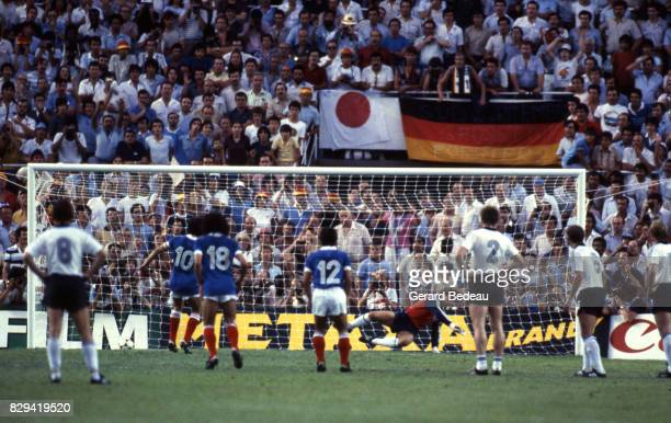 Michel Platini of France score his goal during Semi Final World Cup match between West Germany and France 8th July 1982 in Ramon Sanchez Pizjuan...