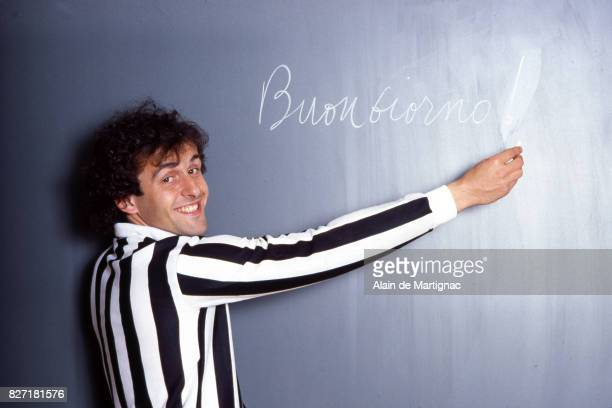 Michel Platini of Juventus during a photoshoot on March 23 1983 in Turin Italy